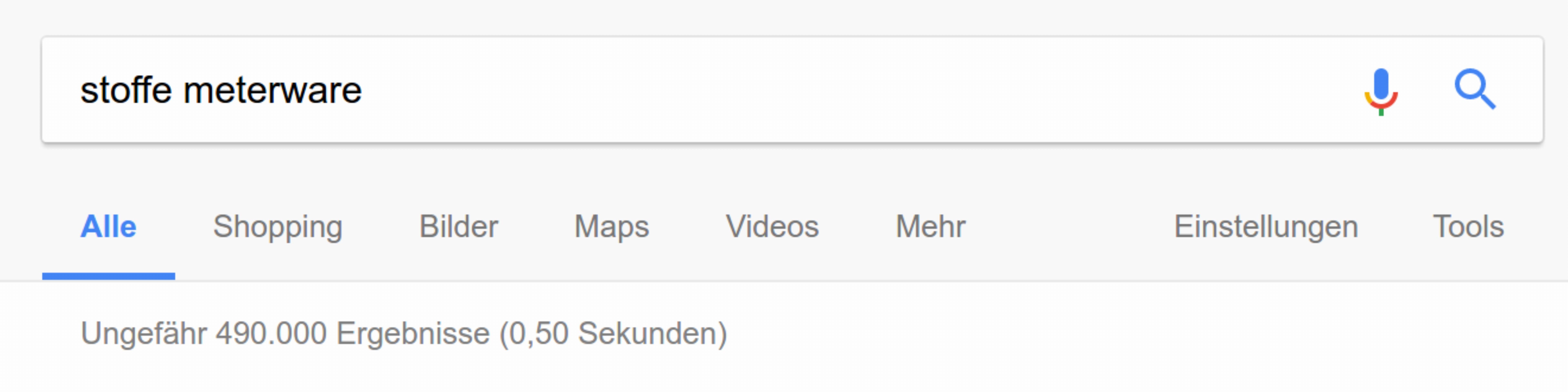 Geringere Anzahl der Suchergebnisse