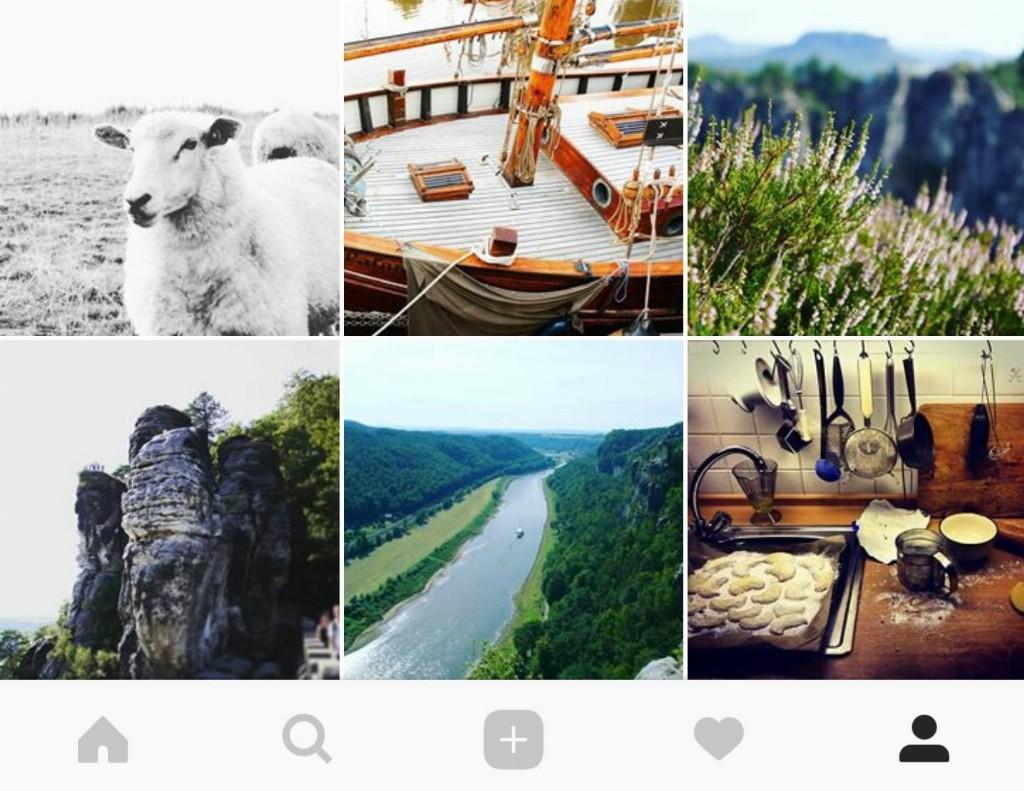 Instagram App-Menü